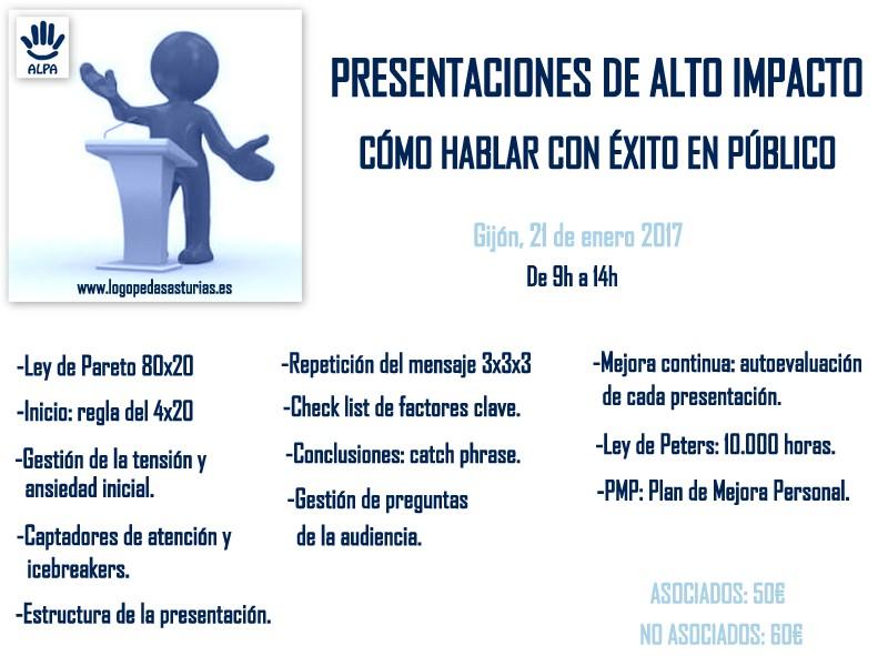 Taller como hablar ne público Colegio Logopedas de Asturias
