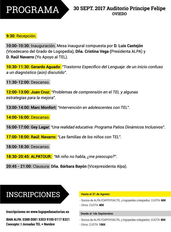 Programa completo de las I jornadas del TEL Asturias